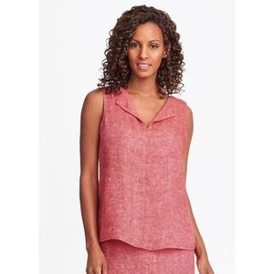 Flax collared linen tank pink red sleeveless